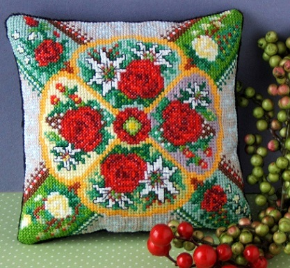 Festive_Flowers_Mini_Cushion_Cross_Stitch_Kit
