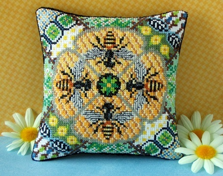 Honey_Bees_Mini_Cushion_Cross_Stitch_Kit