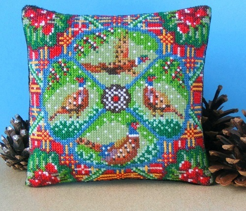 Festive_Pheasants_Mini_Cushion_Cross_Stitch_Kit