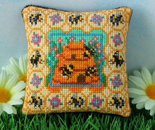 Beehive_Pincushion_Cross_Stitch_Kit